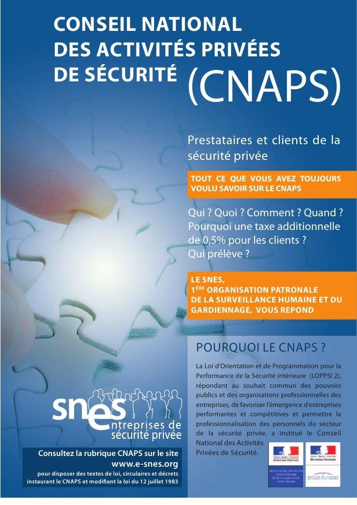 CONSEIL NATIONAL          DES ACTIVITÉS PRIVÉES          DE SÉCURITÉ                                                      ...