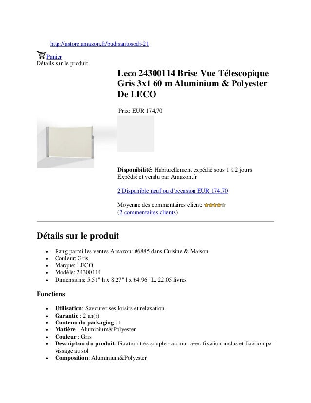 http://astore.amazon.fr/budisantosodi-21PanierDétails sur le produitLeco 24300114 Brise Vue TélescopiqueGris 3x1 60 m Alum...