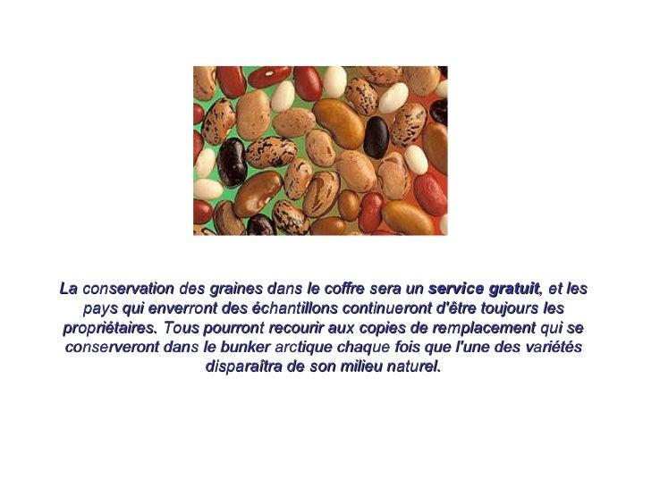 La conservation des graines dans le coffre sera un  service gratuit , et les pays qui enverront des échantillons continuer...
