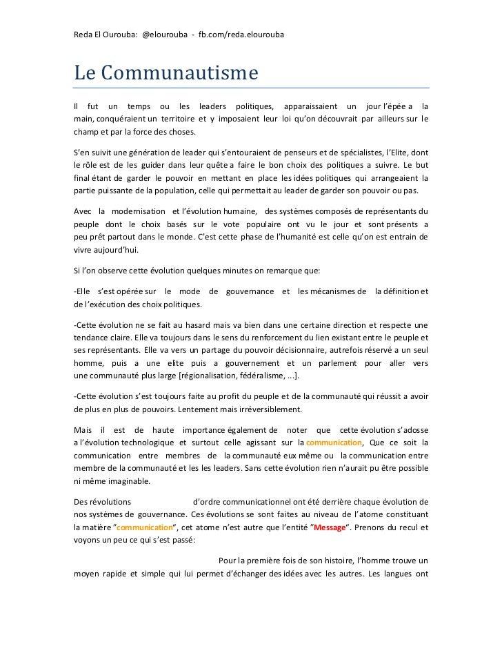 Reda El Ourouba: @elourouba - fb.com/reda.elouroubaLe CommunautismeIl fut un temps ou les leaders politiques, apparaissaie...