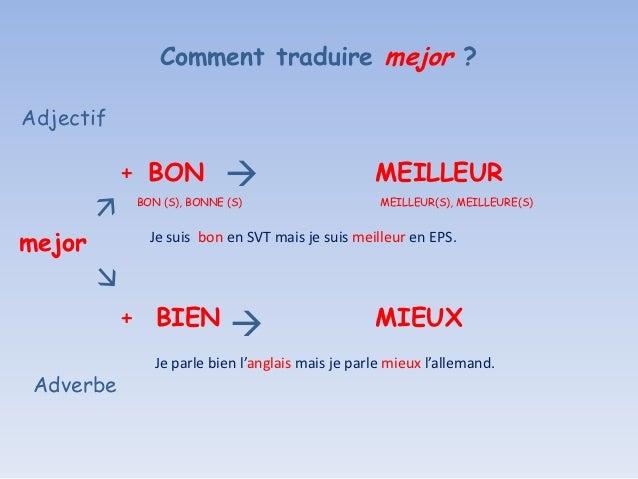 Comment traduire mejor ?Adjectif           + BON                                MEILLEUR           BON (S), BONNE (S)    ...