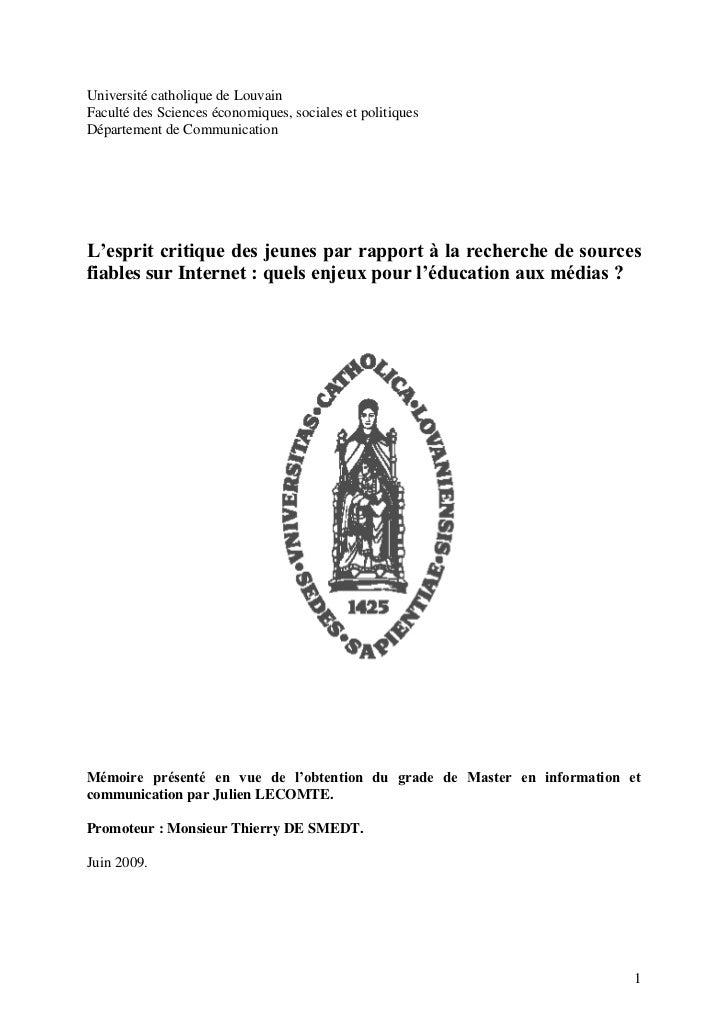 Université catholique de LouvainFaculté des Sciences économiques, sociales et politiquesDépartement de CommunicationL'espr...