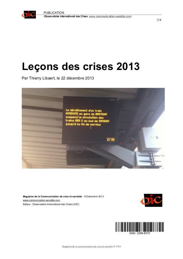 PUBLICATION Observatoire International des Crises www.communication-sensible.com 1/4 Magazine de la communication de crise...