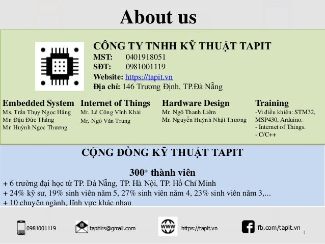 4 CÔNG TY TNHH KỸ THUẬT TAPIT MST: 0401918051 SĐT: 0981001119 Website: https://tapit.vn Địa chỉ: 146 Trương Định, TP.Đà Nẵ...