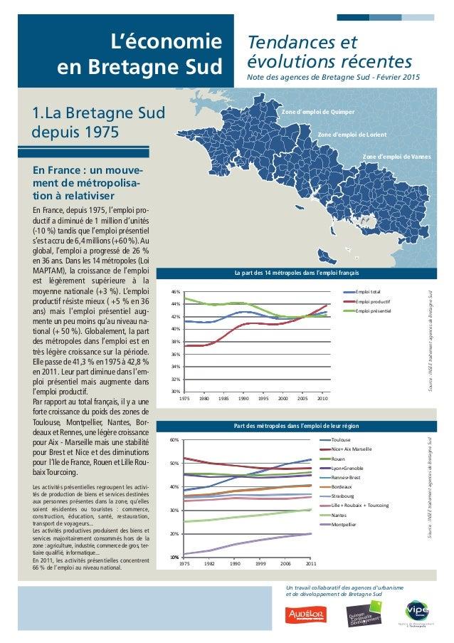 L'économie en Bretagne Sud Tendances et évolutions récentes Note des agences de Bretagne Sud - Février 2015 En France : un...