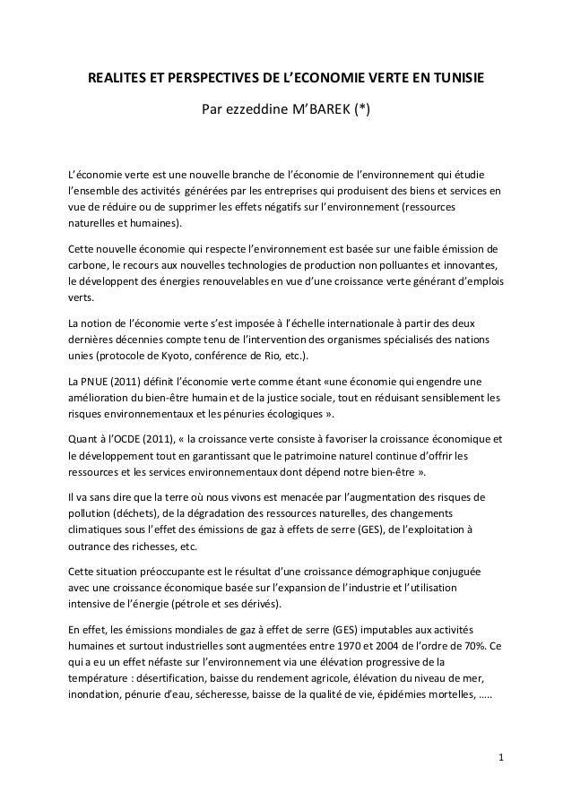 REALITES ET PERSPECTIVES DE L'ECONOMIE VERTE EN TUNISIE                            Par ezzeddine M'BAREK (*)L'économie ver...