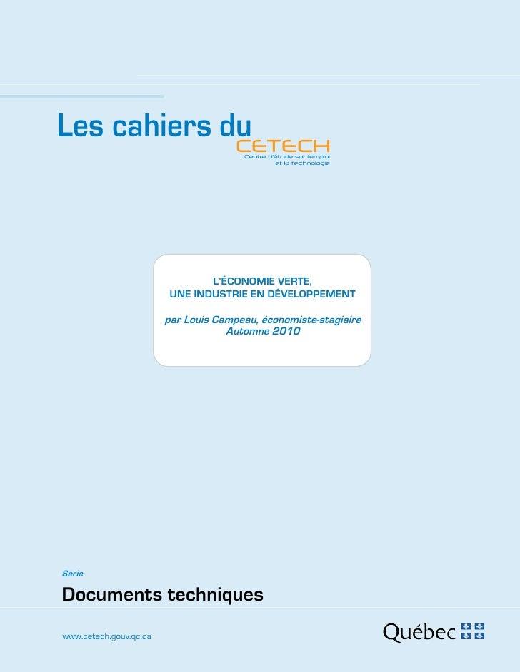 Les cahiers du             CETECH                    Centre d'étude sur l'emploi                                          ...