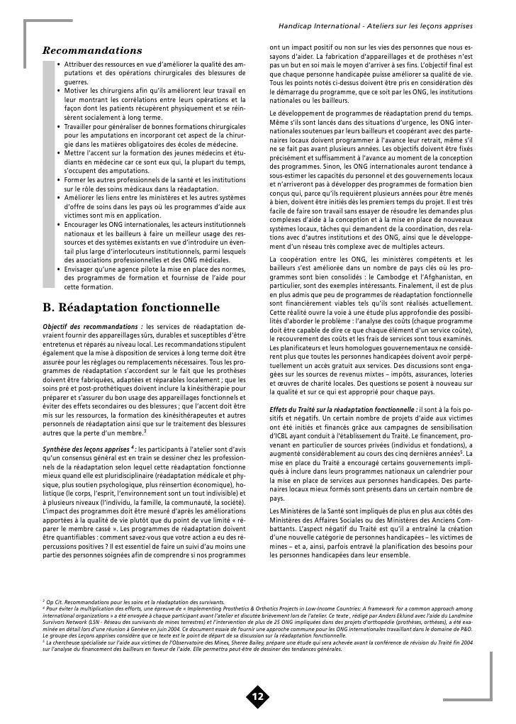 Handicap International - Ateliers sur les leçons apprises                                                                 ...