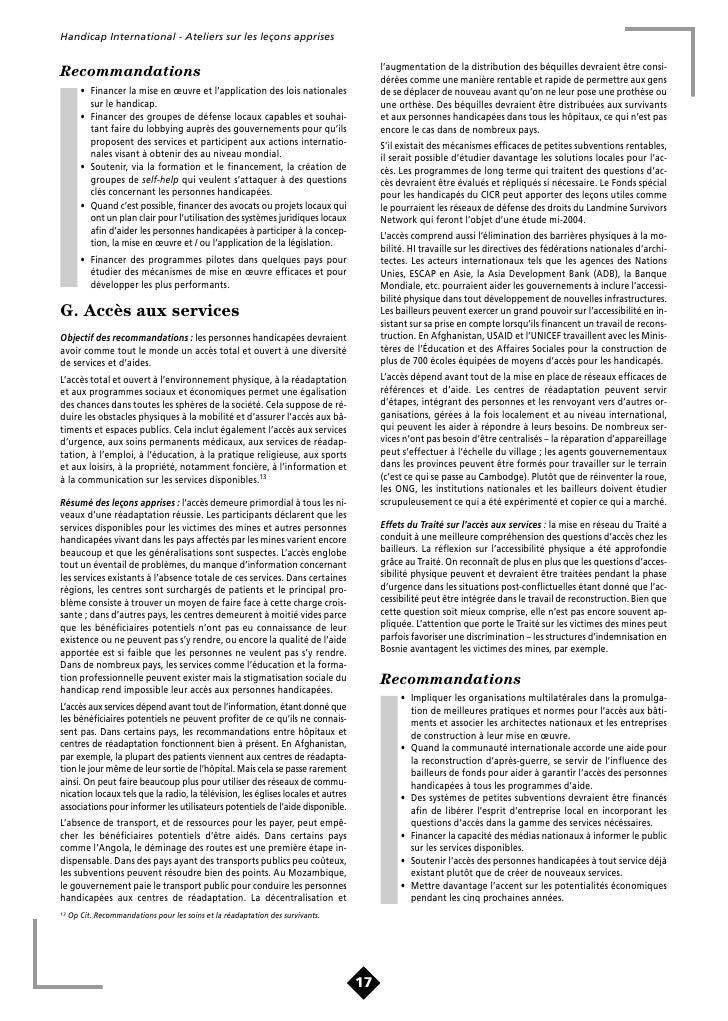 HI 73f - Lecons Apprises - Assistance aux victimes de mines