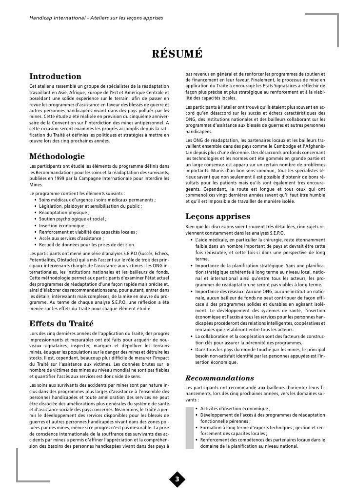Handicap International - Ateliers sur les leçons apprises                                            TABLE DES MATIÈRES   ...