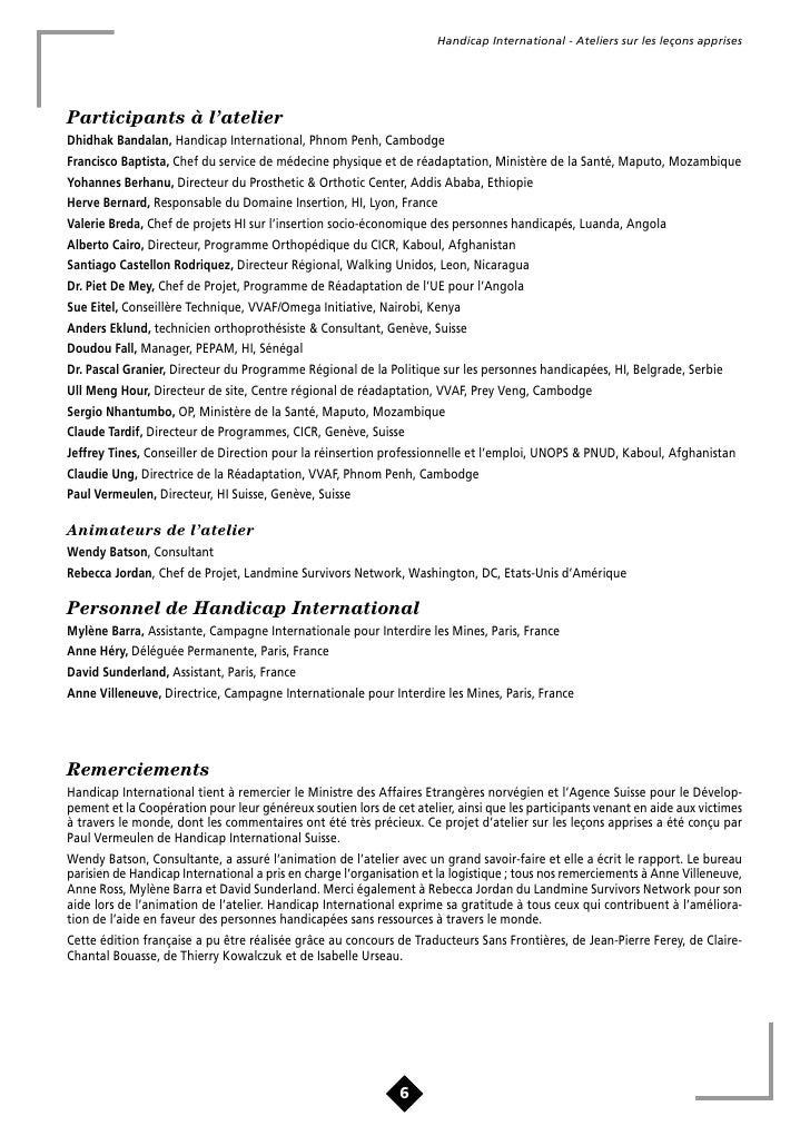 Handicap International - Ateliers sur les leçons apprises     A. Contexte                                                 ...