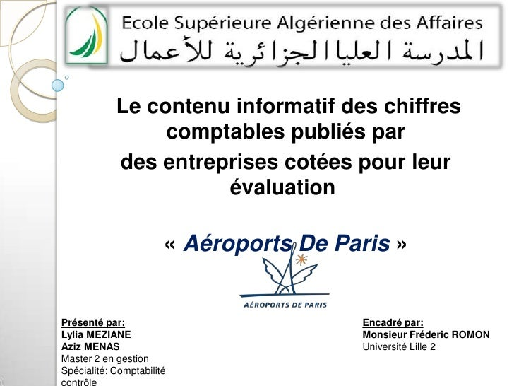Le contenu informatif des chiffres comptables publiés par <br />des entreprises cotées pour leur évaluation<br />«Aérop...