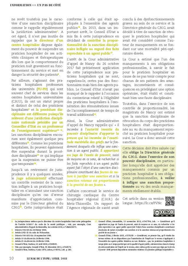Le MAG de l'INPH / AVRIL 201810 INFORMATION ›››› UN PAS DE CÔTÉ ne revêt toutefois pas le carac- tère d'une sanction disci...