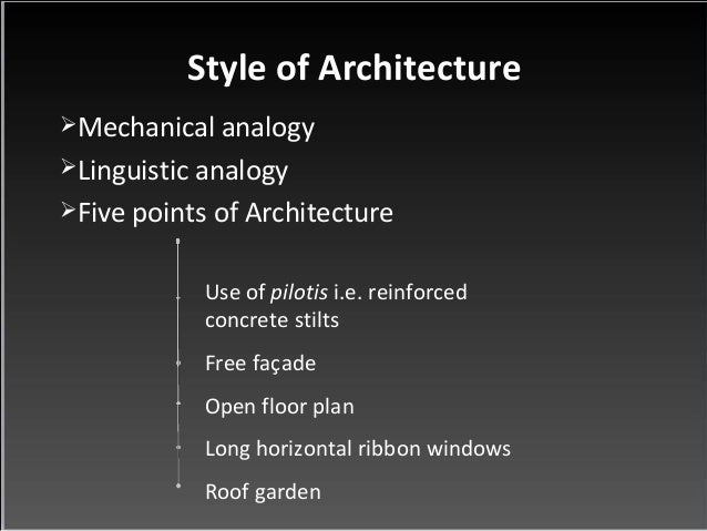 Style of Architecture  Mechanical analogy  Linguistic analogy  Five points of Architecture  Use of pilotis i.e. reinfor...