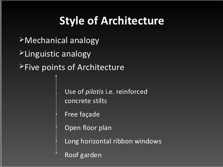 Le corbusier for Home architecture analogy