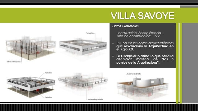 Datos Generales   Le Corbusier concibe la Villa Savoye como    un prototipo tipológico para futuras    construcciones en ...