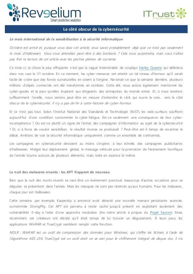 Le côté obscur de la cybersécurité Le côté obscur de la cyLe mois international de la sensibilisation à la sécurité inform...