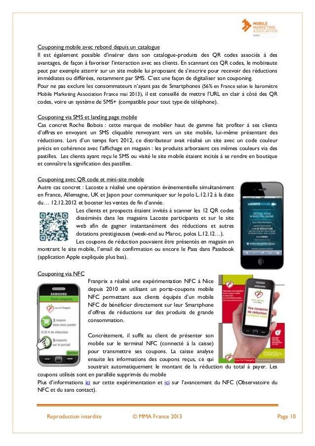 Reproduction interdite © MMA France 2013 Page 10 Couponing mobile avec rebond depuis un catalogue Il est également possibl...