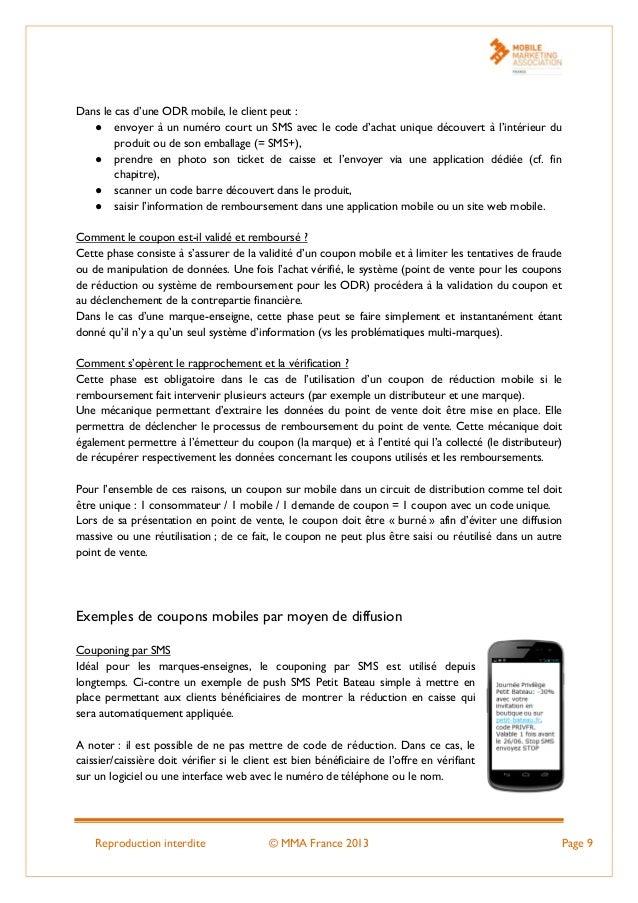 Reproduction interdite © MMA France 2013 Page 9 Dans le cas d'une ODR mobile, le client peut : ● envoyer à un numéro court...