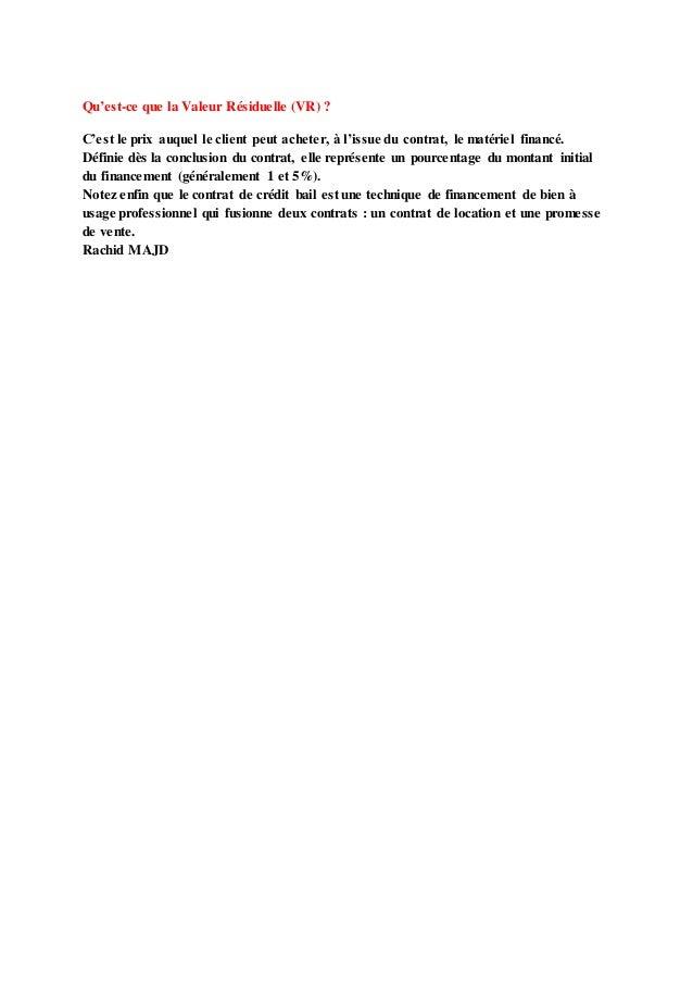 Le Credit Bail Mobilier En Droit Marocain