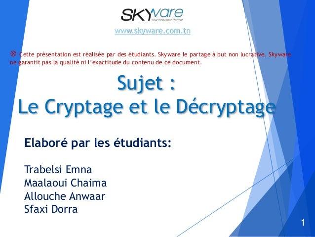 1 Sujet : Le Cryptage et le Décryptage Elaboré par les étudiants: Trabelsi Emna Maalaoui Chaima Allouche Anwaar Sfaxi Dorr...