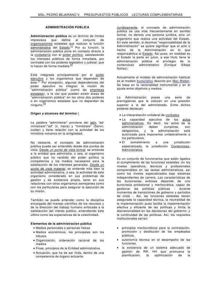 MSc. PEDRO BEJARANO V.           PRESUPUESTOS PÚBLICOS         LECTURAS COMPLEMENTARIAS             ADMINISTRACIÓN PÚBLICA...