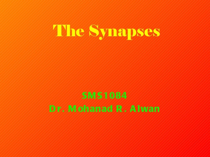 The  Synapses SMS1084 Dr. Mohanad R. Alwan