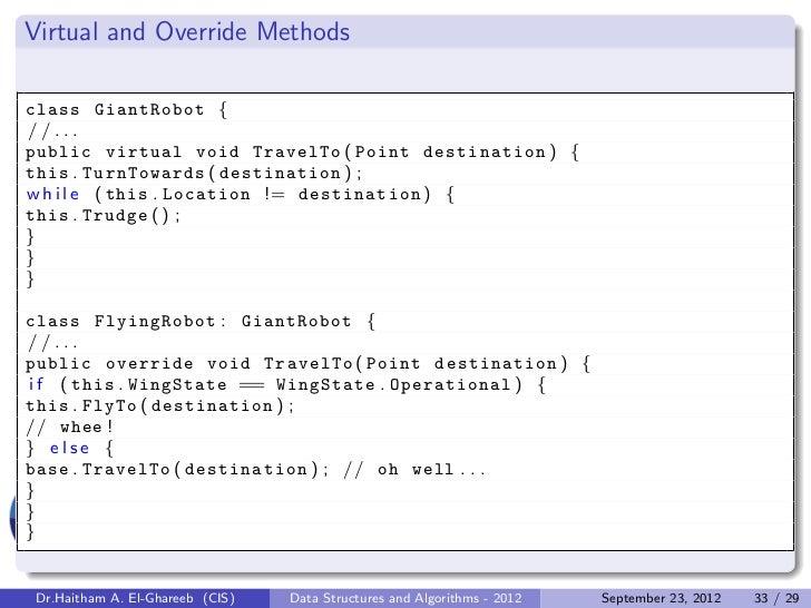 Virtual and Override Methodsclass GiantRobot {//...public virtual void TravelTo ( Point destination ) {this . TurnTowards ...
