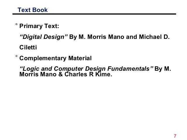 Digital electronics morris mano pdf