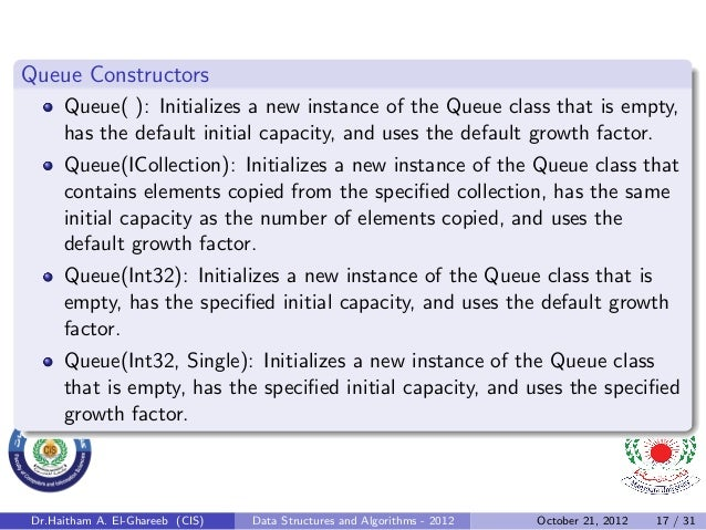 Queue Constructors     Queue( ): Initializes a new instance of the Queue class that is empty,     has the default initial ...