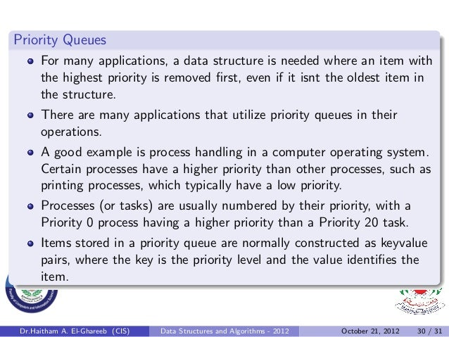 Priority Queues      For many applications, a data structure is needed where an item with      the highest priority is rem...
