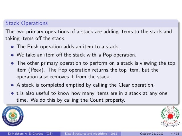 Stack OperationsThe two primary operations of a stack are adding items to the stack andtaking items off the stack.      The...