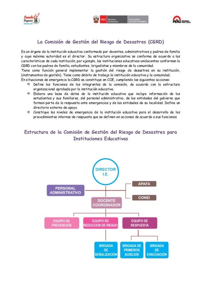 ORGANIZACION DE LA I.E. EN CASO EN SITUACIONES EMERGENCIA Slide 2