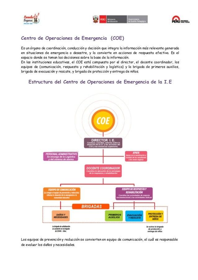 ORGANIZACION DE LA I.E. EN CASO EN SITUACIONES EMERGENCIA Slide 3