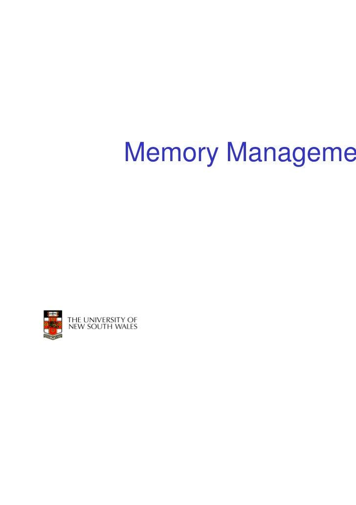 Memory Management                    1