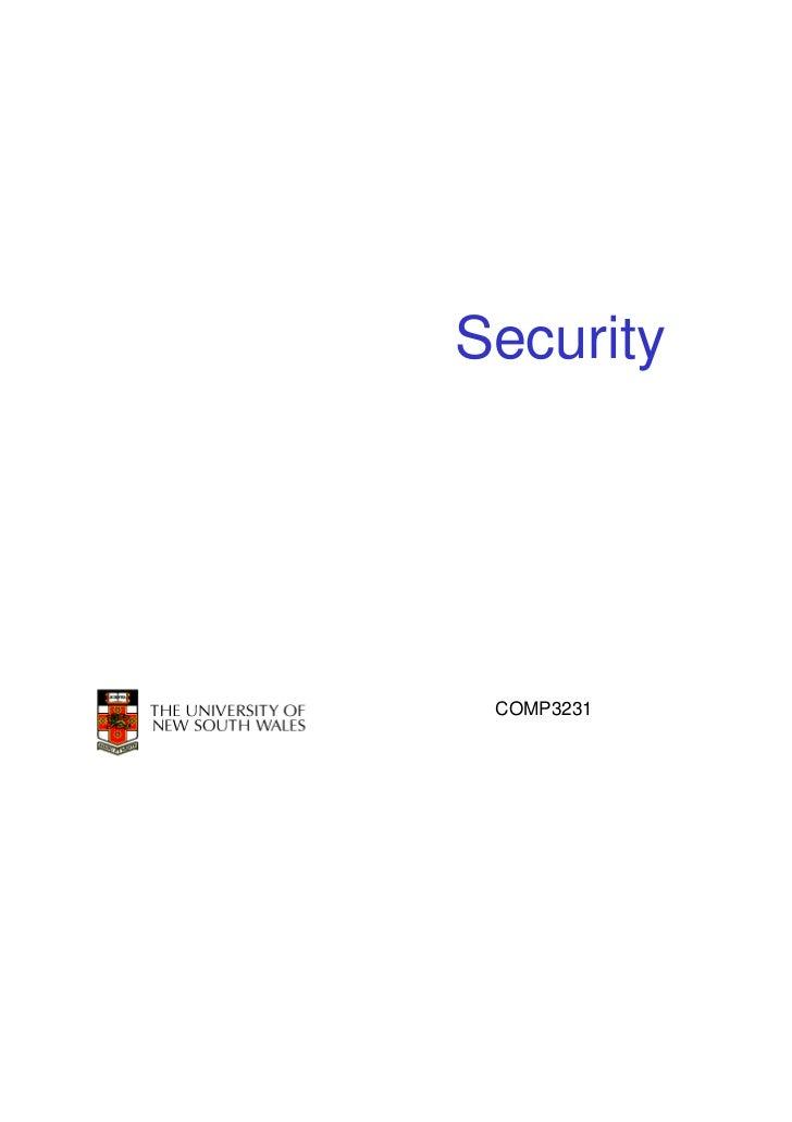 Security COMP3231   1