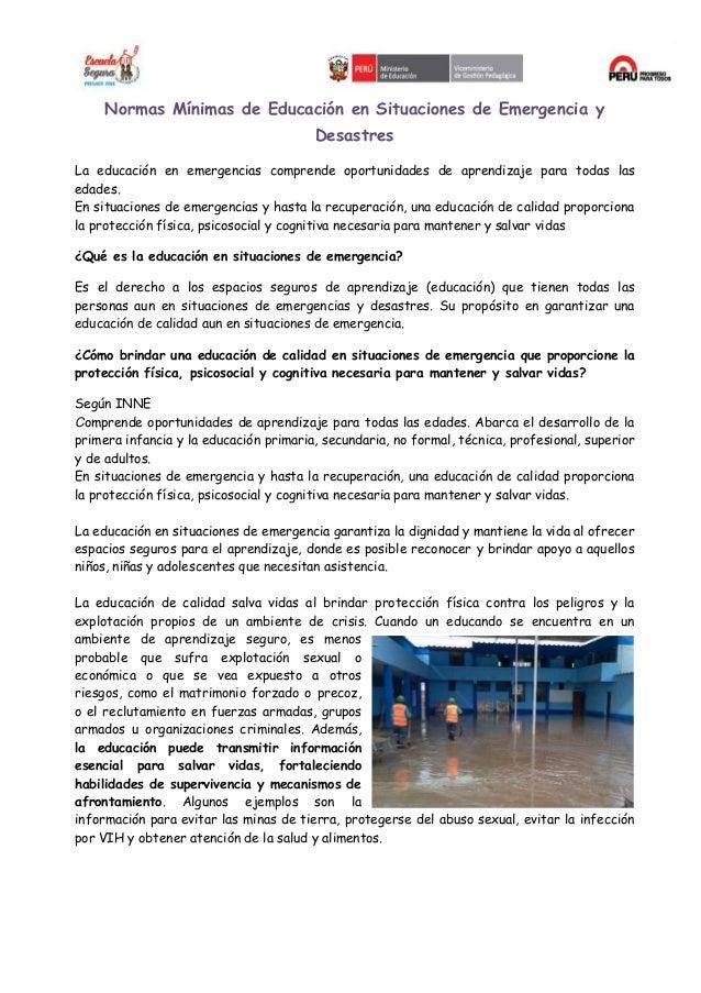 NORMAS MINIMAS PARA LA EDUCACION EN SITACIONES DE EMERGENCIA Slide 2