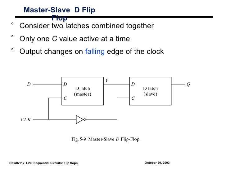 Master-Slave D Flip            Flop ° Consider two latches combined together ° Only one C value active at a time ° Output ...