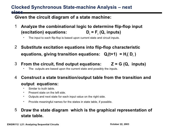 Clocked Synchronous State-machine Analysis – next   class     Given the circuit diagram of a state machine:      1 Analyze...