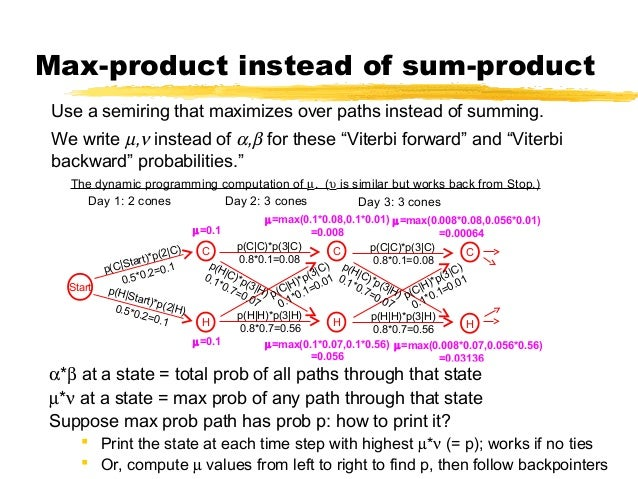600.465 - Intro to NLP - J. Eisner 18 Max-product instead of sum-product Use a semiring that maximizes over paths instead ...