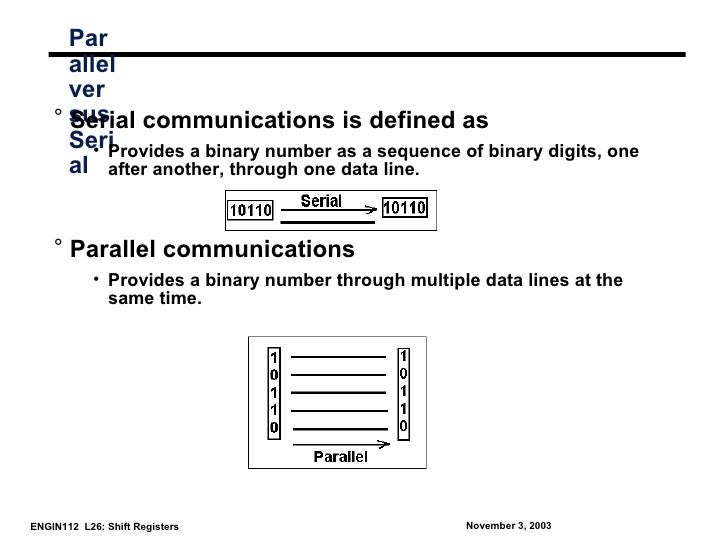 Par      allel      ver    ° sus communications is defined as      Serial      Seri         • Provides a binary number as ...