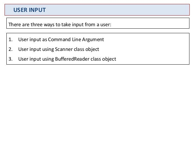 how to get an input from user java