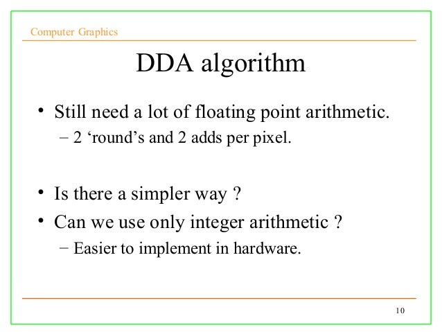 Dda Line Drawing Algorithm Full Form : Lect cg
