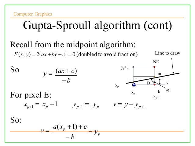 Midpoint Line Drawing Algorithm In C : Lect cg