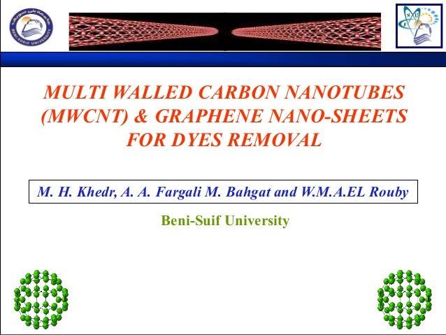 MULTI WALLED CARBON NANOTUBES (MWCNT) & GRAPHENE NANO-SHEETS FOR DYES REMOVAL M. H. Khedr, A. A. Fargali M. Bahgat and W.M...