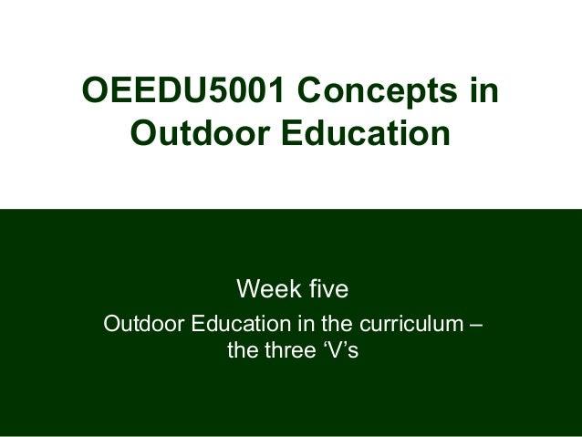 OEEDU5001 Concepts in  Outdoor Education              Week five Outdoor Education in the curriculum –            the three...