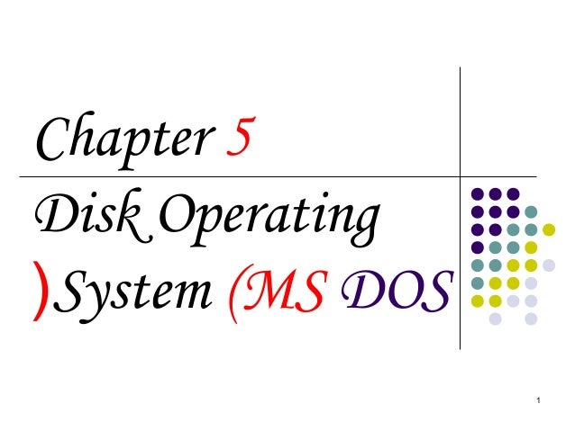 1 Chapter 5 Disk Operating System (MS DOS(