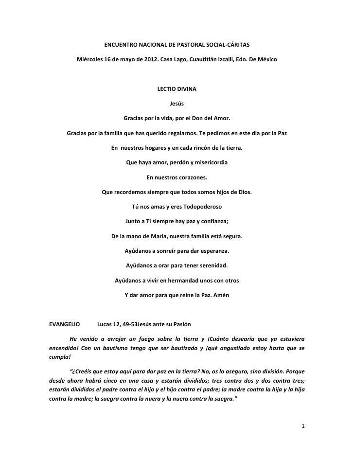 ENCUENTRO NACIONAL DE PASTORAL SOCIAL-CÁRITAS           Miércoles 16 de mayo de 2012. Casa Lago, Cuautitlán Izcalli, Edo. ...