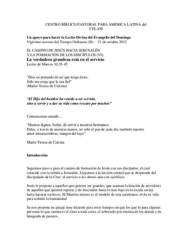CENTRO BÍBLICO PASTORAL PARA AMÉRICA LATINA del                                CELAMUn apoyo para hacer la Lectio Divina d...