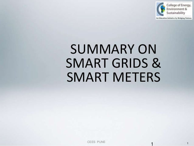 1 SUMMARY ON SMART GRIDS & SMART METERS CEES PUNE 1